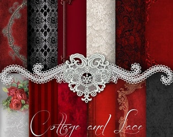 Sale Lace and Roses: Red and Black Digital Paper, Black Digital Lace, Frames and Roses, Commercial, Instant Download, Digital Sheets, No 119