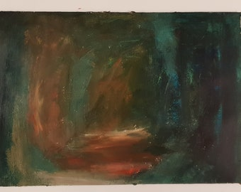 Hideout - A3 acrylic abstract landscape painting with green and brown