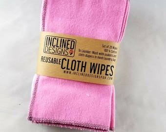 Reusable 100% Cotton Cloth Wipe Set of 20