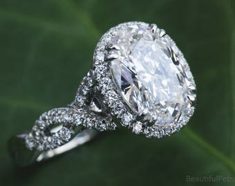 FANCY - BeautifulPetra.com - GIA Certified - Oval Halo Diamond Engagement Ring - Platinum - Luxury - Bp0h34