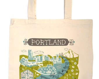Portland Tote Bag-City Tote-Oregon Tote-Any City Tote-Turquoise-Green-Gray-Personalized-Custom Wedding Tote-Wedding Welcome Tote