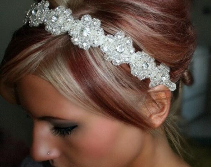 Floral Bridal Headpiece, Rhinestone Bridal Headband, Floral Hair Piece, Wedding Headpiece, Wedding Headband, Bridal Hair Piece, Silver Hair