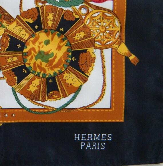Vtg Hermes Scarf Wrap Large 34X34 In. Unused Ropes Tassels