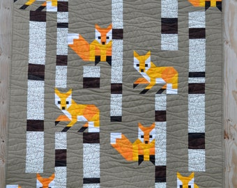 Fox among the Birches Quilt Pattern, PDF, Instant Download, modern patchwork, woodland animal, forest, birch tree