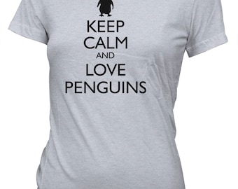 Junior's Keep Calm and Love Penguins Funny T-Shirt Animals Tee