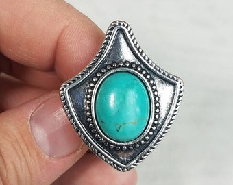 Unique Teal/Turquoise Silver Plated Vintage Ring