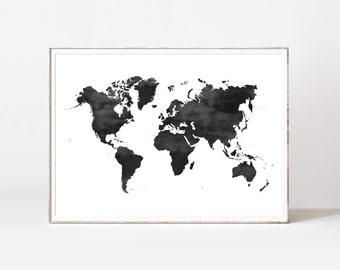 World map poster, water color world map, world map print, black and white world map, scandinavian print, map poster, world map printable