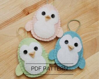 Penguin Ornament DIY Pattern, Felt Sewing Pattern