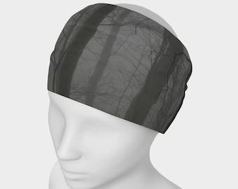 Tree Headband - Hair Accessory - Scarf - Face Warmer - Versatile Accessory - Bandanna -  Black Gray Forest