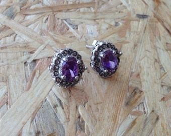 Amethyst Sterling Earrings Sleek Silver Gift