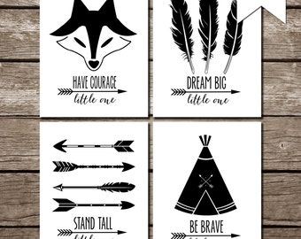 Be Brave, Have Courage, Dream Big, Stand Tall - Set of 4 printables - INSTANT DOWNLOAD