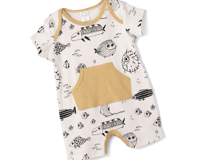 Newborn Baby Coming Home Outfit, Baby Pocket Romper, Baby Short Sleeve Fish Romper, Infant Baby Shorts Outfit, Tesa Babe RP89PFYMD0000