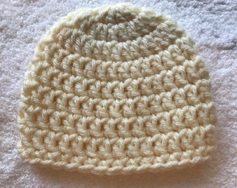 Preemie Crochet Baby Hat Cream