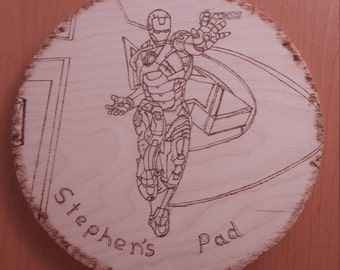 Iron man wooden pyrograhics home plaque