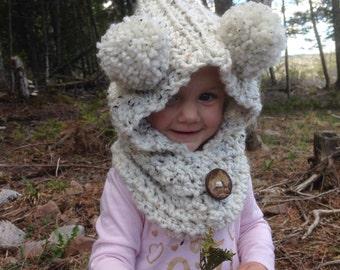 Hooded cowl, Double Pompom Hood, Hood, Winter Hood