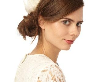 Straw Bridal Pillbox Hat with Organza Bow: 'Marcela'