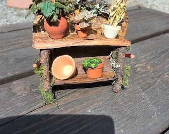 Miniature Tiki Bar With Stools Hawaiian Luau Fairy Beach
