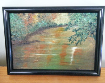 Reflections - an original 5 x 7 inch oil painting in black frame