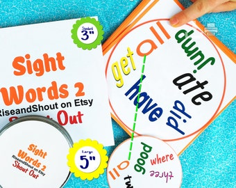 "SIGHT WORDS MATCHING 2 Game Bundle Shout Out, Dolch Pre-primer, 3"" & 5"" Cards, Preschool, Kindergarten, Solo -Class; Print, Cut, Play, Learn"