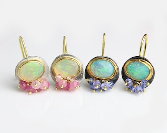 Solid Australian Opal Dangle Earrings with Clusters, 22k, 18k Gold and Silver