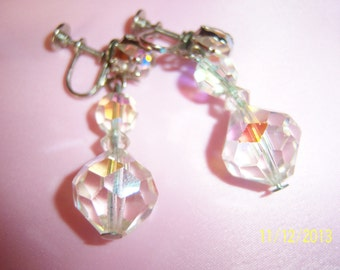 Faceted Crystals Dangling Screw on Earrings