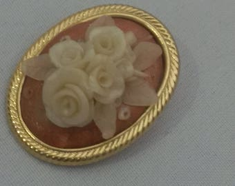 Vintage Hand molded Porcelain Beige Rose bouquet on Copper brooch  on  gold twisted frame backing truly an heirloom for generations