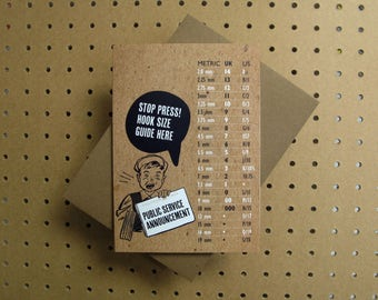 Crochet hook size guide greeting card for UK USA crocheters: public service announcement