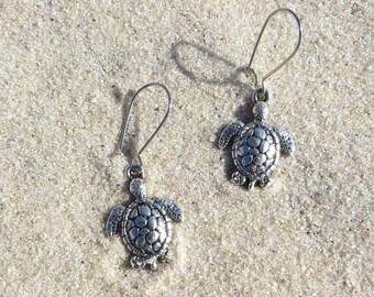 Baby Sea Turtle Honu Earrings Dangling by Wave of Life