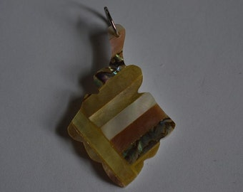 Vintage Mother of Pearl and Abalone Shell Intarsia Pendant (1060360-1)