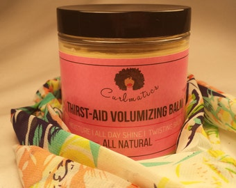 Thirst-Aid Volumizing Twisting Balm for Natural Hair - All Natural for All Day Moisture & Shine - 8oz
