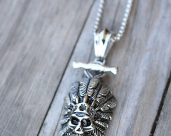Skull Necklace for Men , Tribal Jewelry , Indian Chief Jewelry , Biker Jewelry , Stainless Steel Jewelry for Men