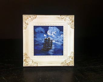 Sailing at night - Original mini acrylic painting with frame
