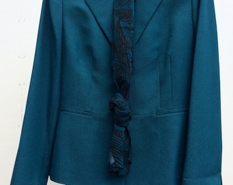 Vintage Evan Picone pant suit teal black size 8 1980's new with tags