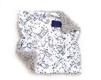 Lovey Navy Starry Constellation. Lovey. Constellation Lovey. Navy Lovey. Mini Baby Blanket. Security Blanket. Lovie. Minky Lovey.