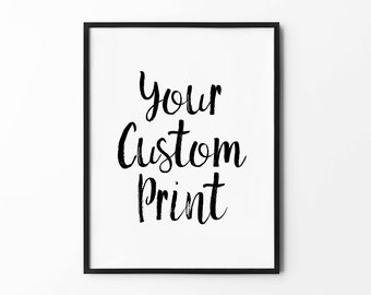 Handwritten Custom Print, Black and White Poster, Minimalist Wall Art, Scandinavian