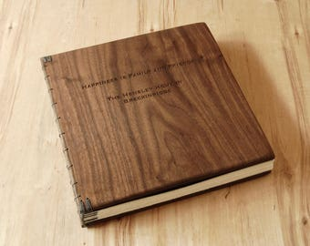 Vacation Home or Cabin Guestbook - lake house beach house mountain home - engraved walnut wood book rustic gift personalized  made to order