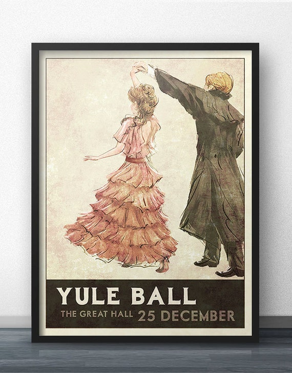 Yule Ball Poster   1930s Retro Style   Inspired By Harry Potter (Pink Dress) by Etsy