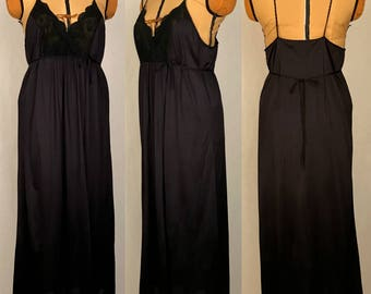 Vintage 70s-80s Gilead Long Black Maxi Nightgown / Spaghetti Straps / Open Back / Waist Ties / Made in the USA / Women's Size Large