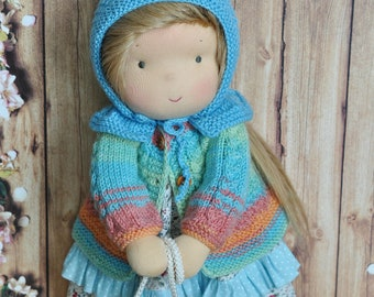 Textile Waldorf baby doll for kids Miranda 38 cm READY TO SHIP