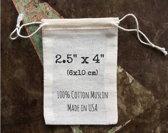 Cloth favor bags, 2.5 x 4 inches, set of 25, unprinted natural muslin cotton drawstring bags, DIY wedding favor, party favor, favor bag