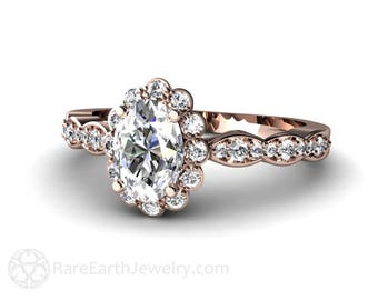 Moissanite Engagement Ring Oval Halo Conflict Free Diamonds 14K or 18K Gold Forever One Moissanite