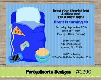 023 DIY - Boys Night/ Sleepover Party Invitation Card.