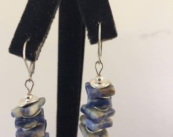 Blue denim bead stacked earring