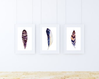 Printable art, Set of 3 wall art, Feather art print, Feather Home decor, Watercolor feather decor, Instant download, Digital art print, boho