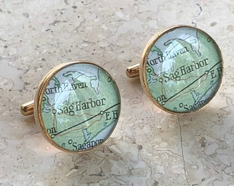 Sag Harbor Cufflinks Vintage Maps Golden Bronze Long Island New York Atlas