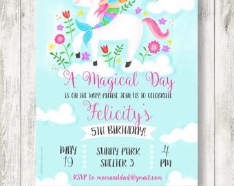 Unicorns & Mermaids Birthday Party Invitation, Printable, Digital File