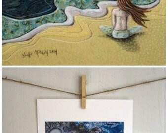Beach wall art, blue ocean, cottage chic decor, summer meditate, beach girl art print