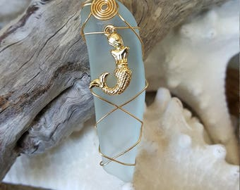 Light blue seaglass mermaid charmed necklace