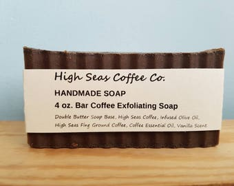 Exfoliating Coffee Soap, Vanilla and Coffee Scented, Natural Exfoiliant, Handmade Soap, Double Butter Soap