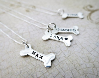 Dog Bone Necklace | Pet Name Necklace | Pet Lover Gift | Engraved Dog Bone | Hand Stamped Pet Jewelry | Sterling Silver Dog Bone | Pet Mom
